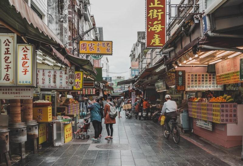 Food street in Hualien, Taiwan