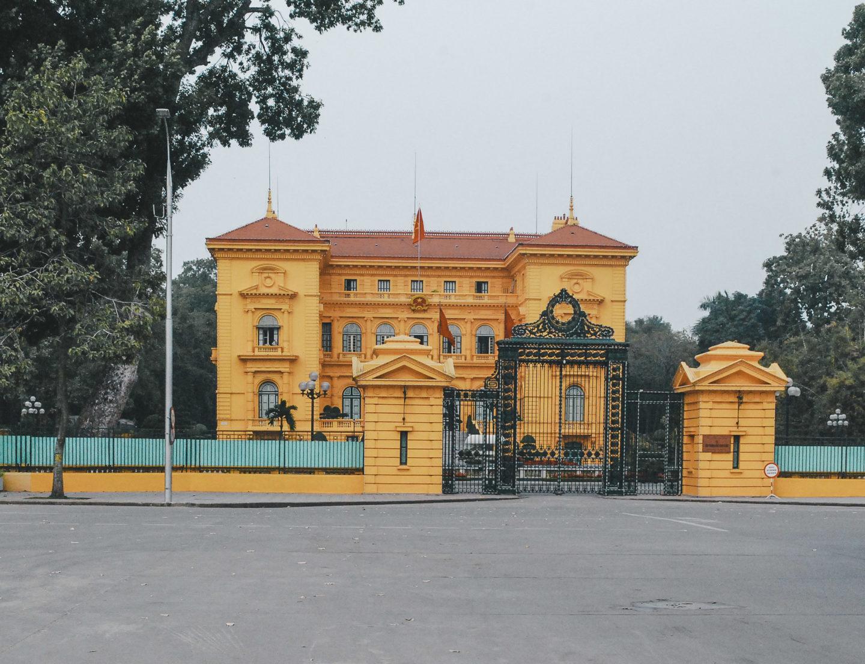 bright yellow Hanoi Presidential Palace