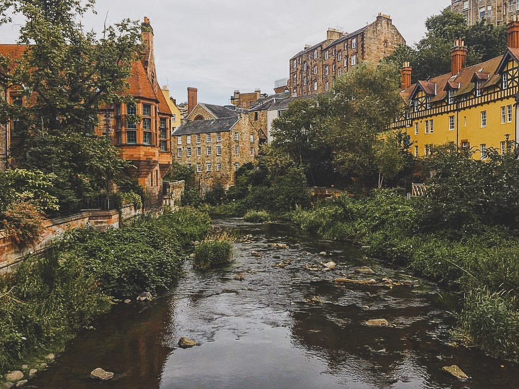 Photo of Dean's Village by the river in Edinburgh, Scotland