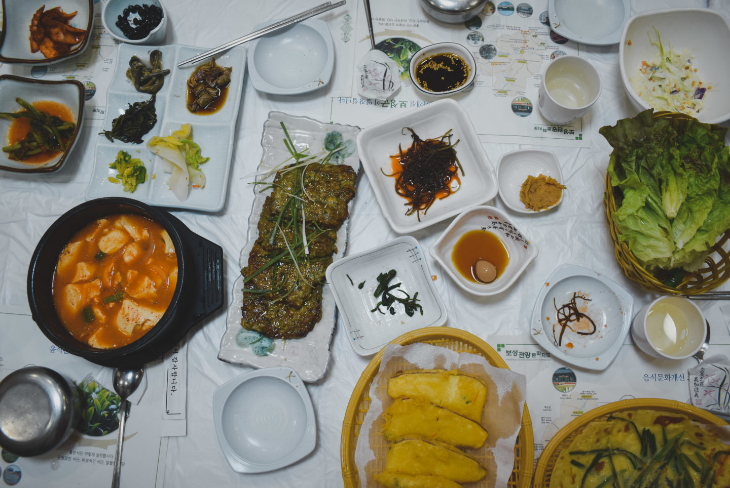 green tea infused meat and side dishes (banchan) in the town of boseong
