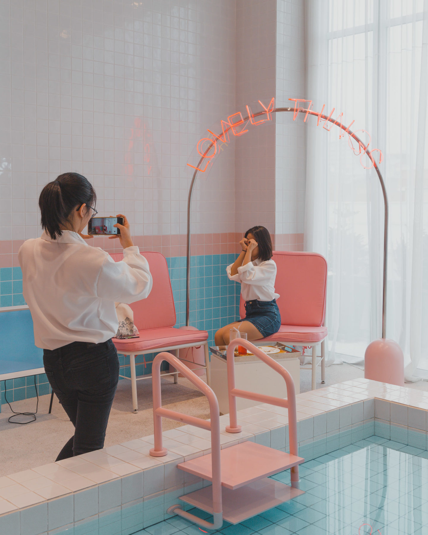 The Trendy Stylenanda Pink Hotel Pink Pool Cafe In Seoul There She Goes Again