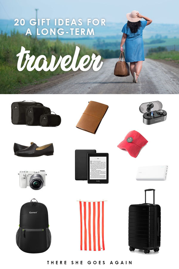 Know someone studying abroad, traveling for a year, or moving to another country temporarily? Regardless, here are 20 gift ideas for your long term traveler! #packingtips #giftguide #travelgifts