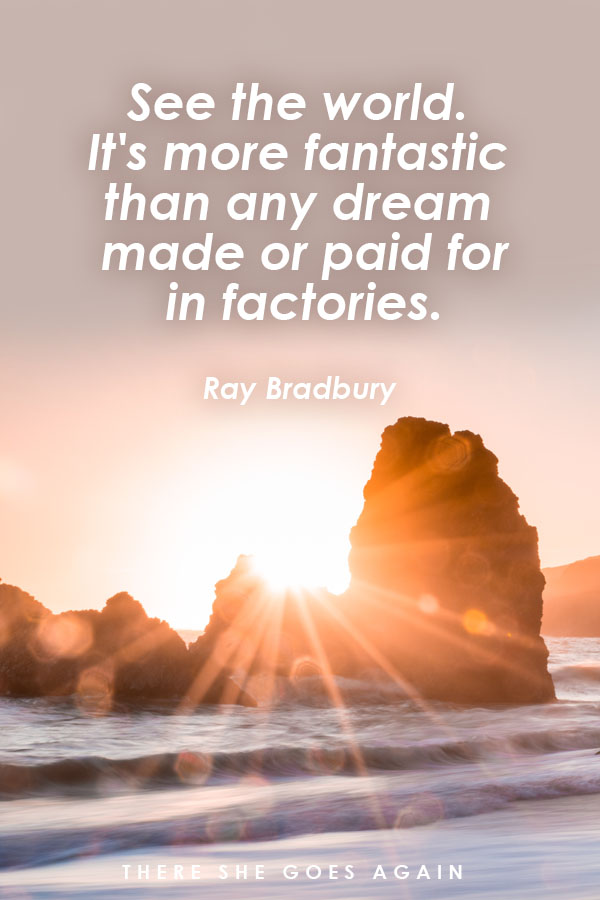 See the world. It's more fantastic than any dream made or paid for in factories - Ray Bradbury, Fahrenheit 451, travel quote
