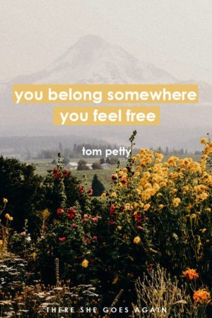 you belong somewhere you feel free - tom petty, wildflower travel quote