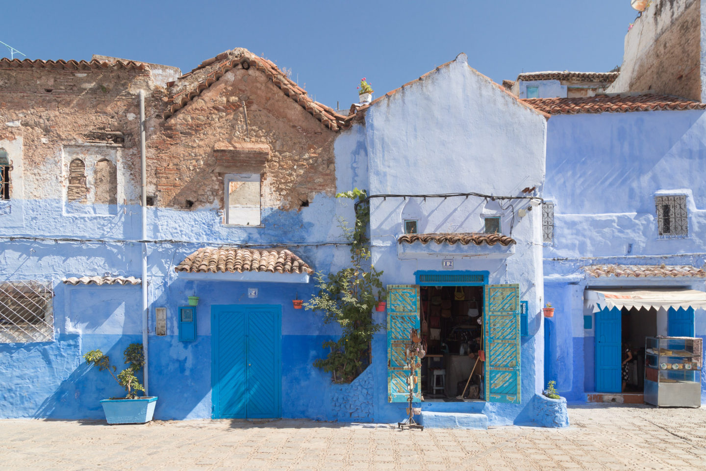 blue facades of buildings in chefchoauen morocco