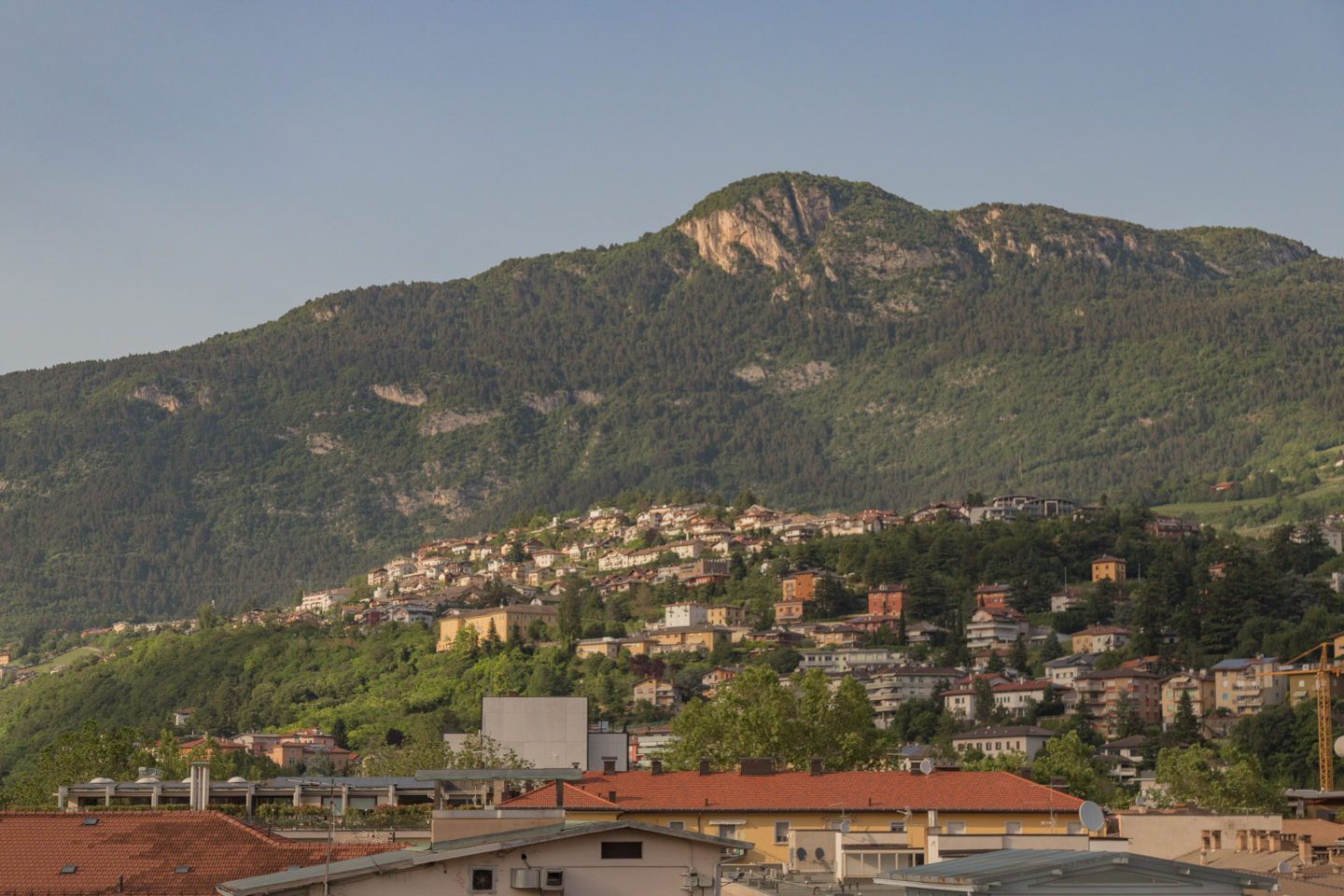 city scape view with mountains and small buildings