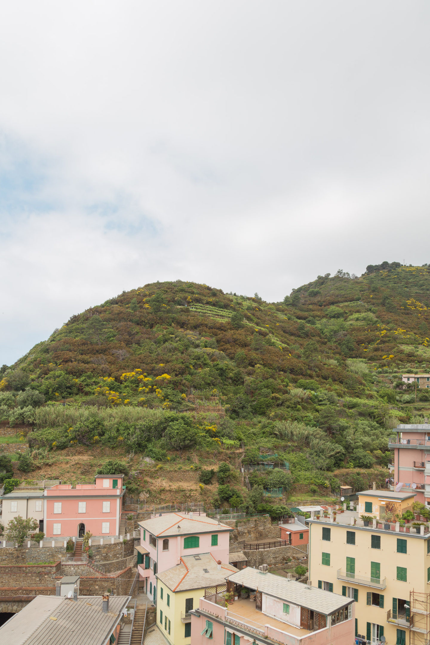 Riomaggiore in Cinque Terre - some faded pinkish and yellow buildings to the backdrop of a green hill and cloudy blue sky
