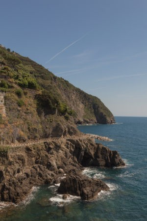 cliffside to the left overlooking blue sea