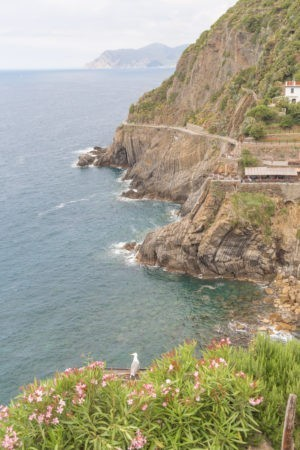 clfifside to the right with blue sea, can see the famous path that leads from Riomaggiore to Manarola