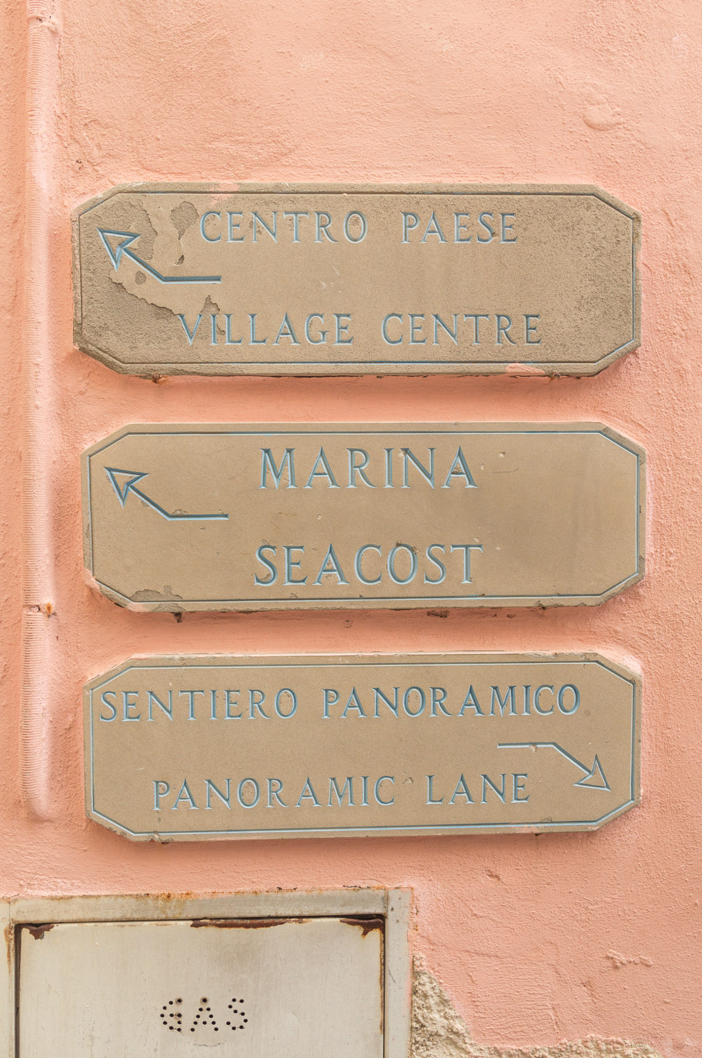 "3 signs giving directions on an orange wall - top one says ""Centro passe, Village Centre"", middle - ""Marina, Sea Coast"", and bottom - ""Sentiero Panoramic, Panoramic Lane"""