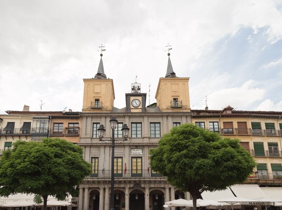 Plaza Mayor building with two twin towers tops