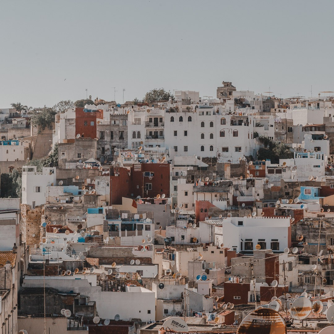 white and reddish buildings in tangier