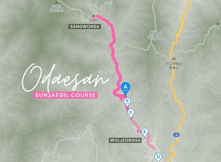 Map of Sunjaegil course in Odaesan, Korea