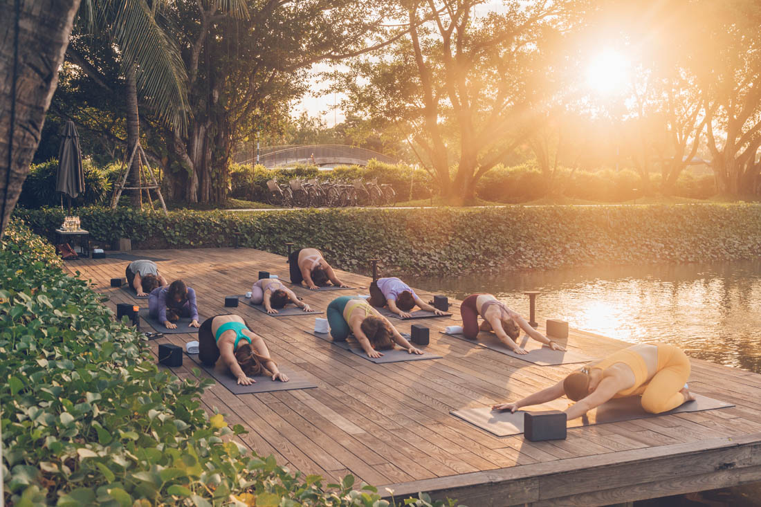 Sunset yoga at Azerai Can Tho