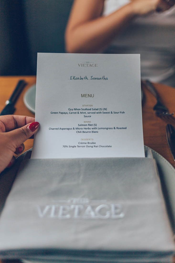 Personalized menu for gourmet dining on the Vietage, Vietnam