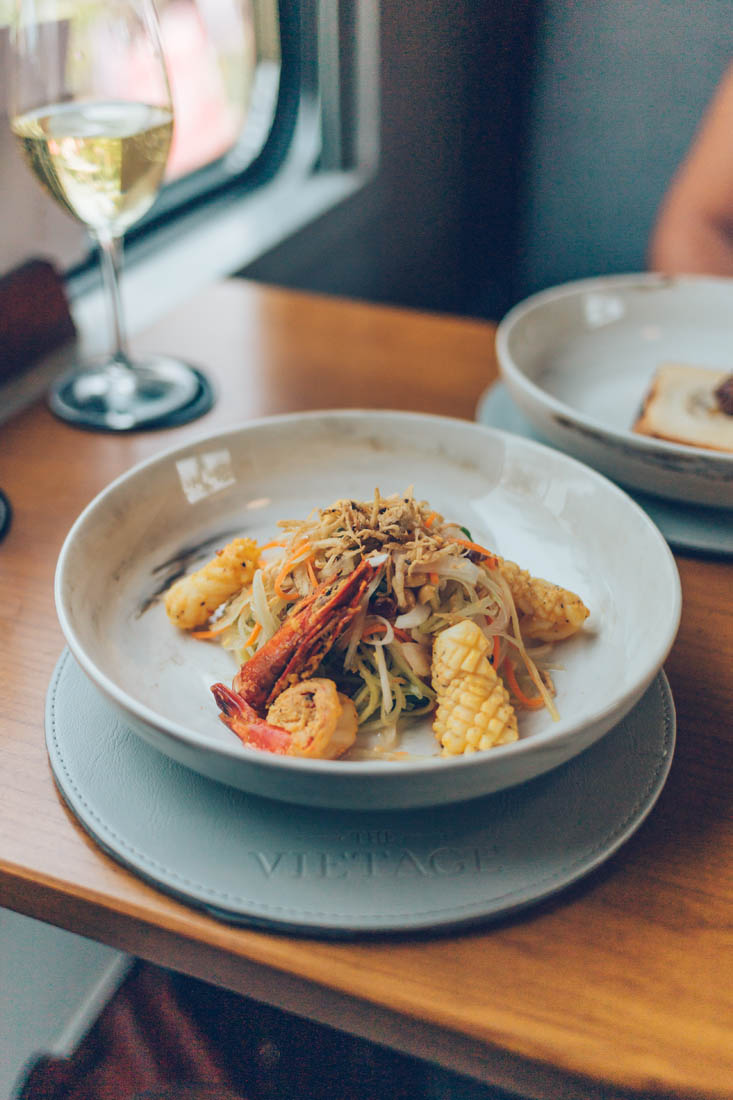 Quy Nhon Seafood Salad, gourmet dining aboard the Vietage, Vietnam