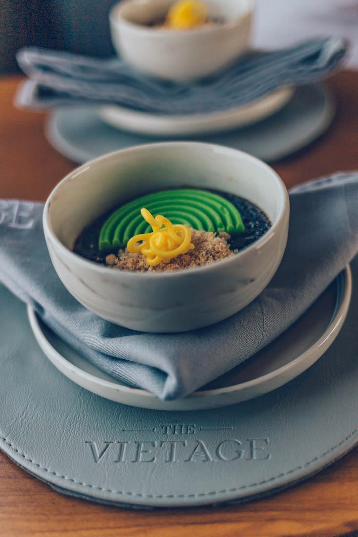 Crème Brulée, gourmet dining aboard the Vietage, Vietnam