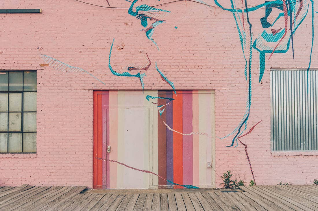 Pink wall mural on Atlanta beltline