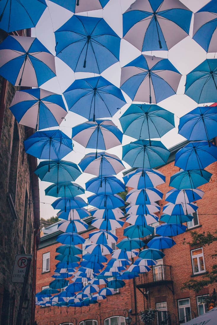 Umbrella Alley, Rue Petit Champlain, Quebec City, Canada